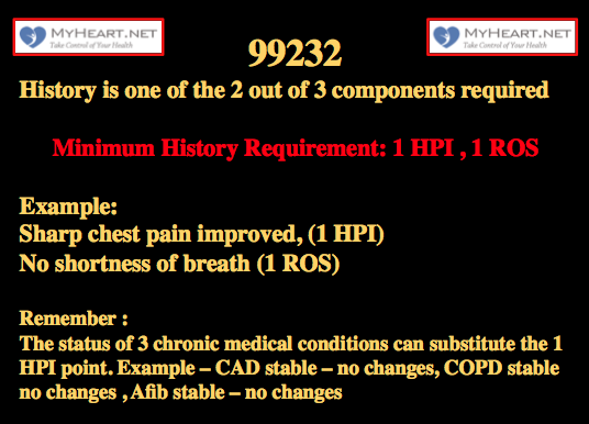 99232 CPT code 2 history