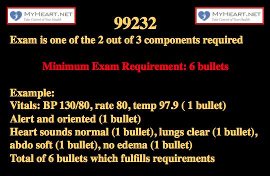 99232 CPT code 3 exam
