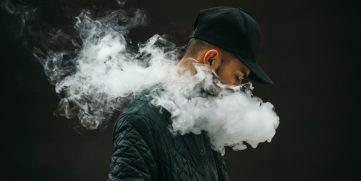 Young man smoking.