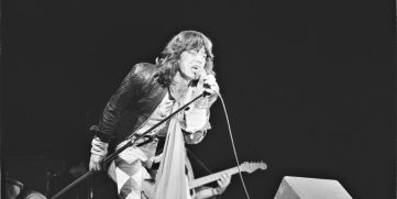 A photo of Mick Jagger from a Rolling Stones concert in 1976. Mick Jagger's heart surgery happened in 2019.