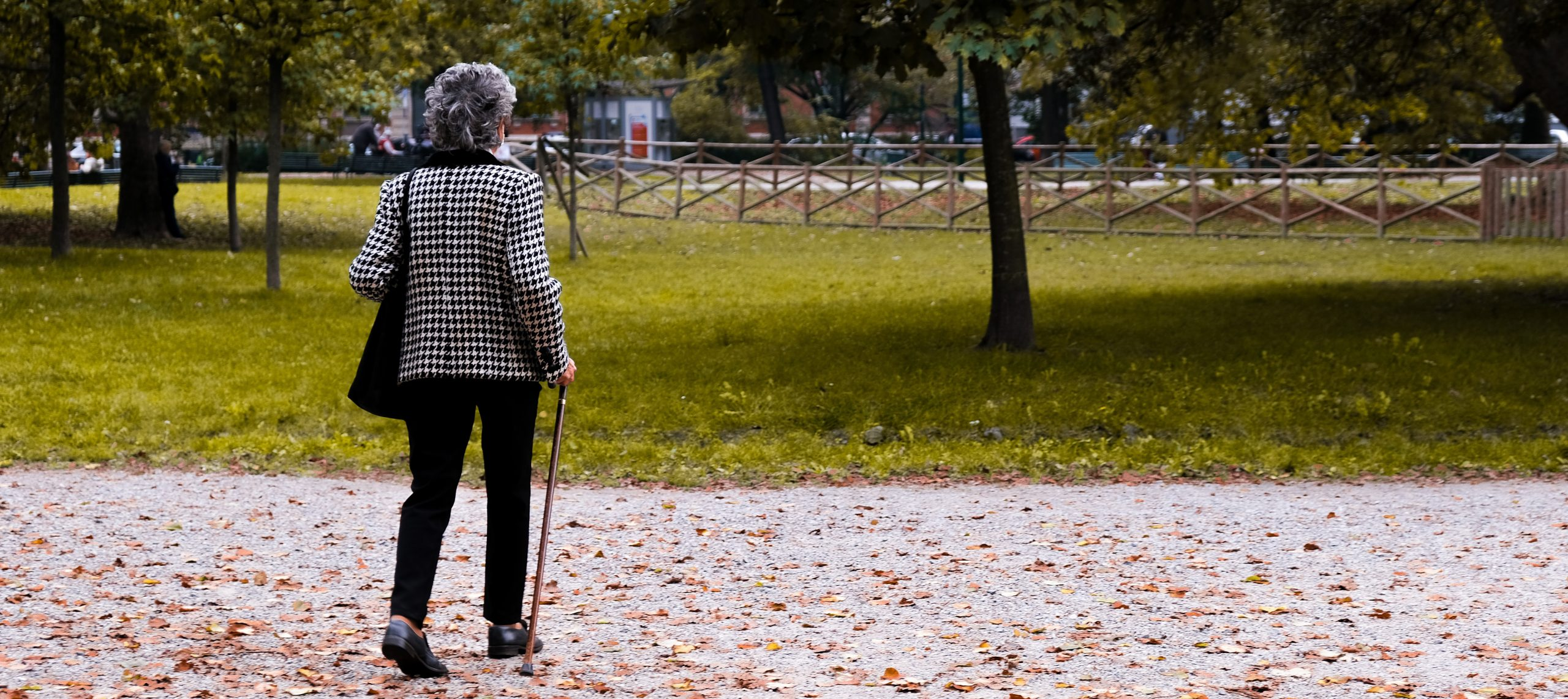 Walking, like this elderly woman is doing, is a great part of treating PAD.
